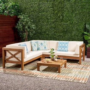 Outdoor 4 Piece V-Shaped Acacia Wood Sectional Sofa and Coffee Table Set