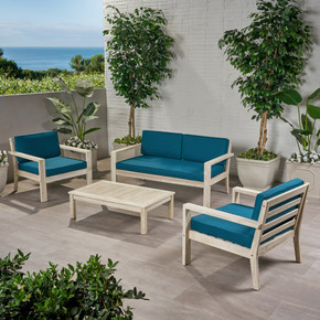 Outdoor 4 Seater Acacia Wood Chat Set with Cushions