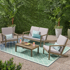 Outdoor 4 Seater Chat Set with Cushions