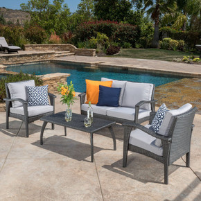 Outdoor 4 Piece Gray Wicker Chat Set with Cushions