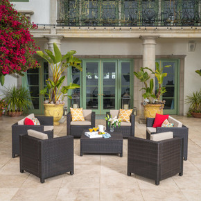 Outdoor 8 Pc Wicker Chat Set w/ Water Resistant Cushions
