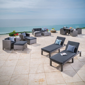 Outdoor 17 Pc-Wicker Patio Set w/Water Resistant Cushion