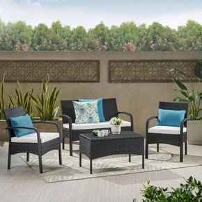 4 Piece Black Wicker Chat Set with White Water Resistant Cushions