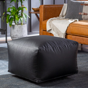Black Faux Leather Pouf