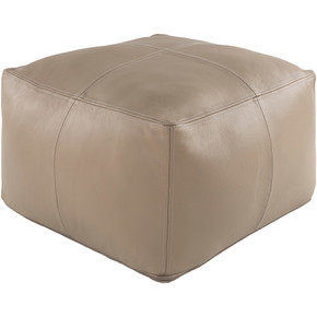 Sheffield Khaki/Taupe 100% Leather Pouf