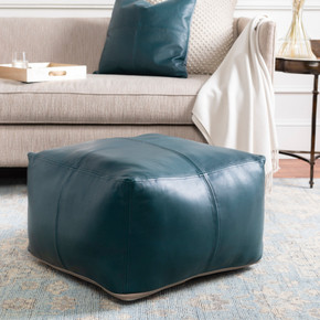 Sheffield Taupe/Teal 100% Leather Pouf