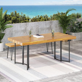 Outdoor Modern Industrial Acacia Wood Dining Table