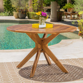 Outdoor Acacia Wood Round Dining Table