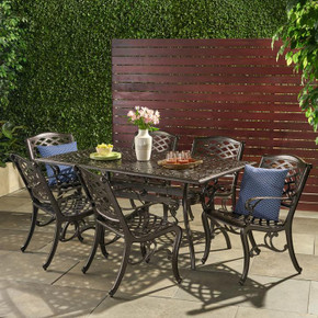 Outdoor 7-piece Cast Aluminum Rectangle Bronze Dining Set