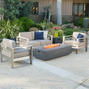 5pc Modern Outdoor Aluminum Sofa Set With Fire Pit