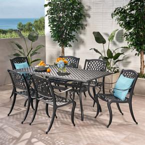 7-piece Black Cast Aluminum Outdoor Dining Set