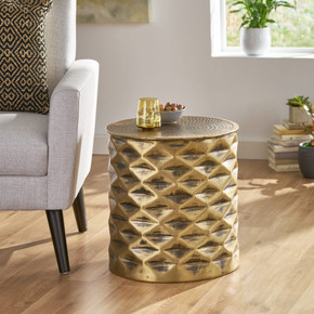 Handcrafted Diamond Pattern Aluminum Side Table