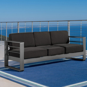 Gray Aluminum Sofa Couch with Water Resistant Cushions