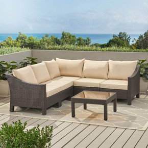 6pc Outdoor Wicker V-shaped Sectional Sofa Set
