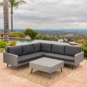 Outdoor Wicker Sofa Set with Water Resistant Cushions