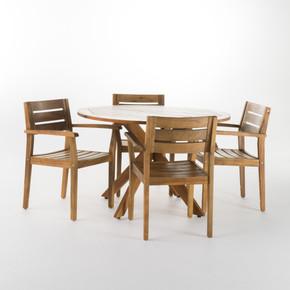 Outdoor Teak Finish Acacia Wood 5 Piece Dining Set