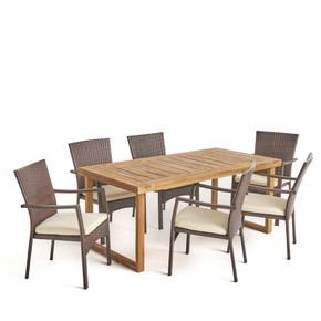 Outdoor 6-Seater Acacia Wood Dining Set