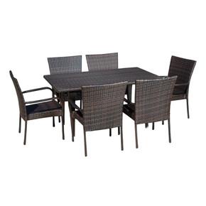 Outdoor 7-Piece Multi-Brown Wicker Dining Set