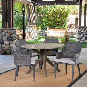 Outdoor 5 Piece Wood and Wicker Dining Set