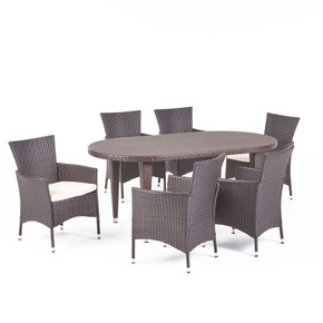 Outdoor 7 Piece Multi-brown Wicker Oval Dining Set
