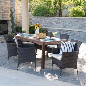 6 Piece Wood & Wicker Outdoor Dining Set