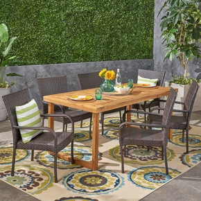 Outdoor 7 Piece Acacia Wood Dining Set with Stacking Wicker Chairs