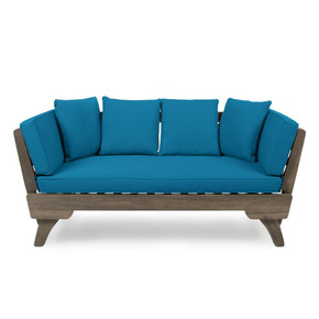 Dark Teal Outdoor Acacia Wood Expandable Daybed