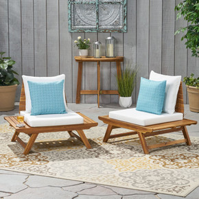 Outdoor Wooden Club Chairs with Cushions (Set of 2)