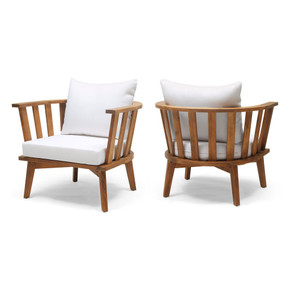 Outdoor Wooden Club Chair with Cushions (Set of 2)