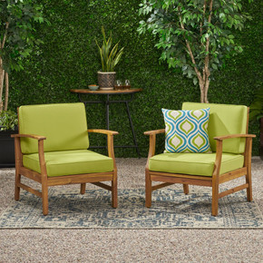 Outdoor Teak Finished Acacia Wood Club Chairs