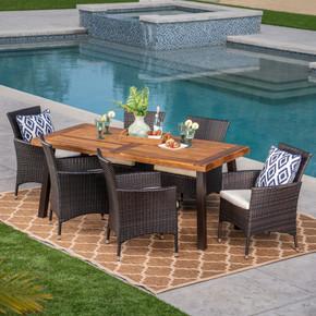 Outdoor 7 Piece Acacia Wood/ Wicker Dining Set