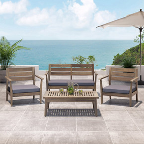Stanford Outdoor 4 Seater Acacia Wood Chat Set
