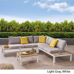 Outdoor Aluminum and Wood V-Shaped Sofa Set