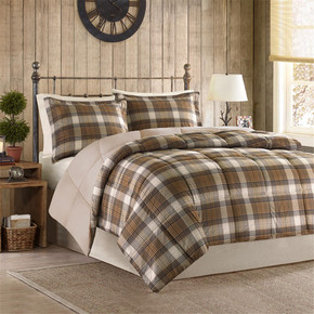 Lumberjack Classic Quilting Soft and Cozy Microfiber Solid Reverse Down Alternative Comforter Set