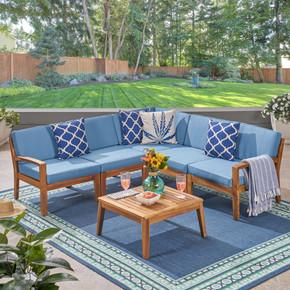 Outdoor Acacia 5 Seater Sectional Sofa Set