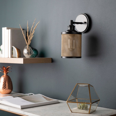 Gold Powder Coated Metal Mesh Wall Sconce