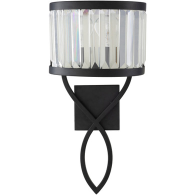 Black, Clear Powder Coated Translucent Wall Sconce