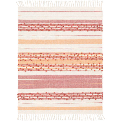 Yemaya 85% Cotton,15% Acrylic Hand Woven Throw-Rose