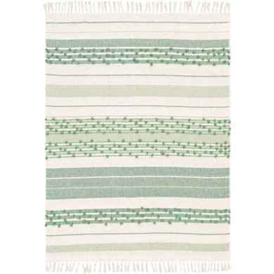 Yemaya 85% Cotton,15% Acrylic Hand Woven Throw-Mint