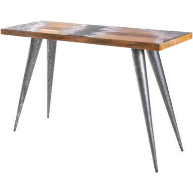 Dark Storm Wood Base Metal Console Table