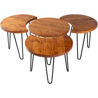 Selene Wood Base Metal Table Set