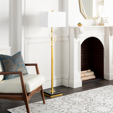 Cosworth Brass Brushed Floor Portable Light
