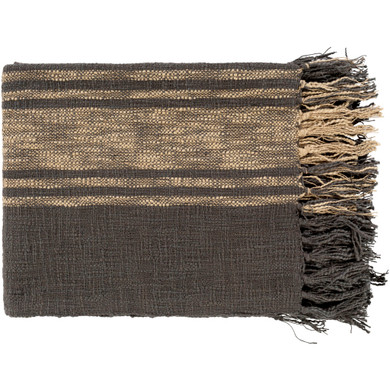 Bramble 60 X 50 inch Charcoal/Khaki  Rectangle Throw