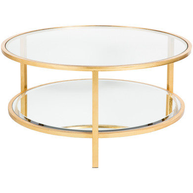 Ascot 36 X 36 inch Gold and Clear Accent Table