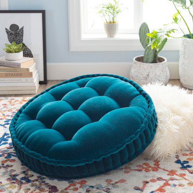 """Bauble 30""""H x 30""""W Round Teal Pillow Cover"""