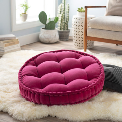 """Bauble 30""""H x 30""""W Round Pink Pillow Cover"""