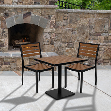 Outdoor Patio Bistro Dining Table Set with 2 Chairs