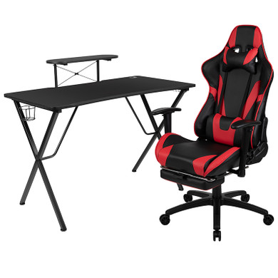 Red/Black Footrest Reclining Gaming Chair Set