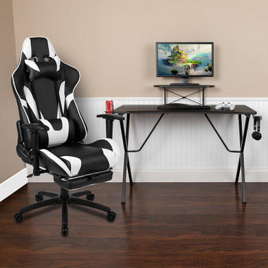Black/White Footrest Reclining Gaming Chair Set