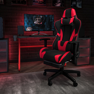 Red/Black Footrest Gaming Chair Set